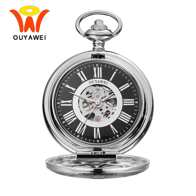 3a86267b7 Ouyawei 2017 Vintage Mechanical Pocket Watches Silver Skeleton Case Men  Hand Wind Clock Necklace Pocket & Fob Watch With Chain