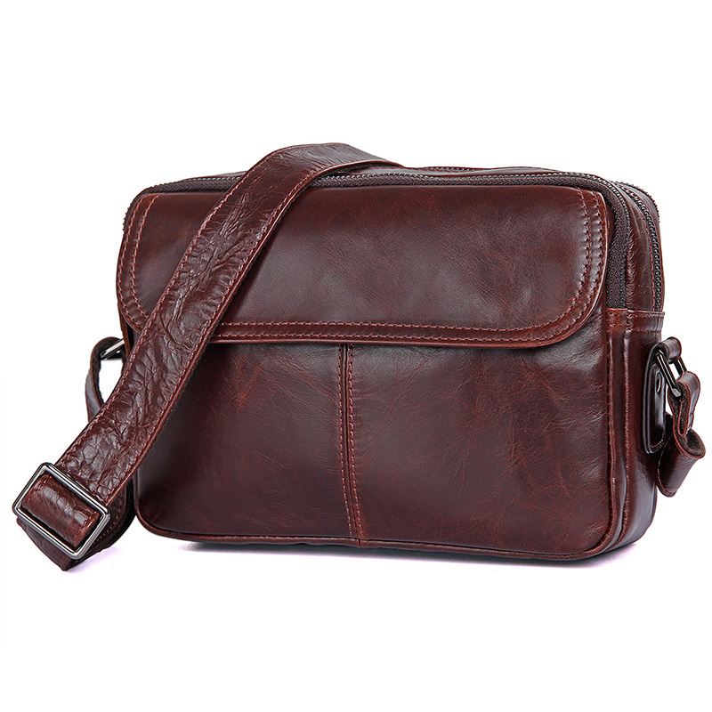 Nesitu High Quality Black Coffee Real Skin Genuine Leather Small Men Messenger Bags For 7 9