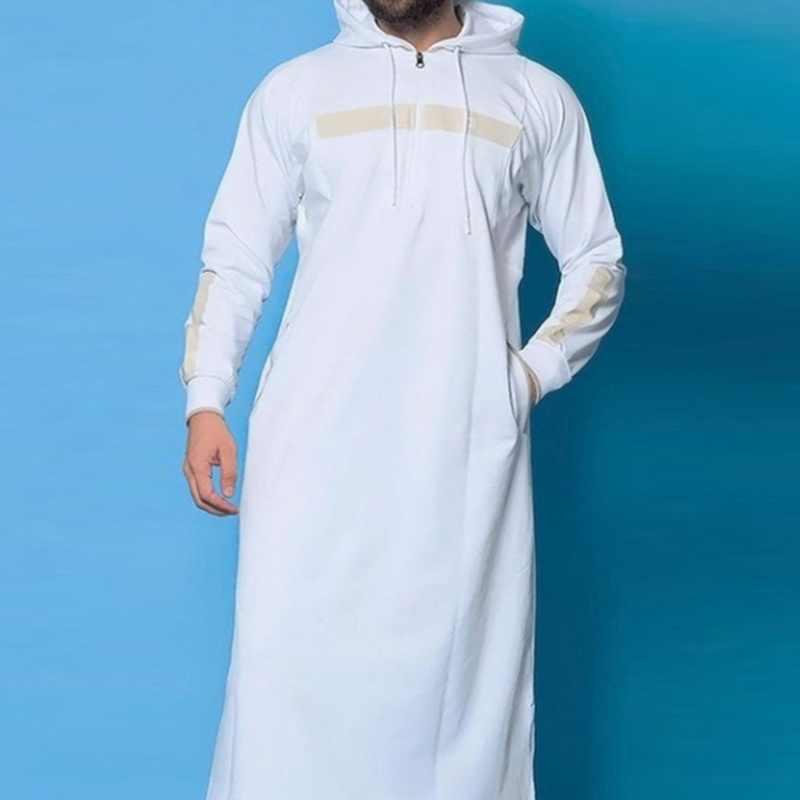 MJARTORIA 2019 イスラム教徒ローブパーカードレッシングメンズサウジアラブ長袖トーブ Jubba トーブカフタンロングイスラム男服