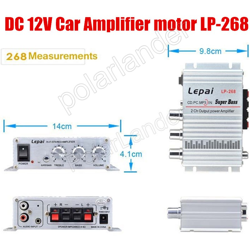 2CH sortie Amplifier 20WX2 RMS New vraie voiture Audio stéréo amplificateurs de puissance amplificateur de puissance salut - fi super Bass 12 V