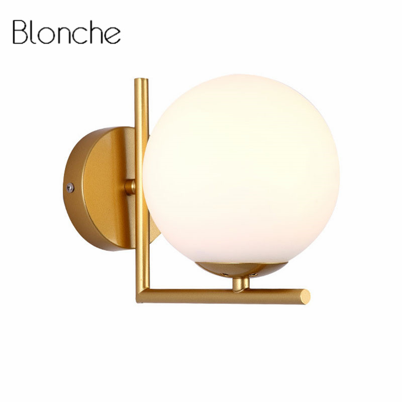 Modern Glass Ball Wall Lamp Nordic Led Bedroom Mirror Light Fixtures Indoor Bedside Lamp for Home Decor Corridor Luminaire E27 недорого