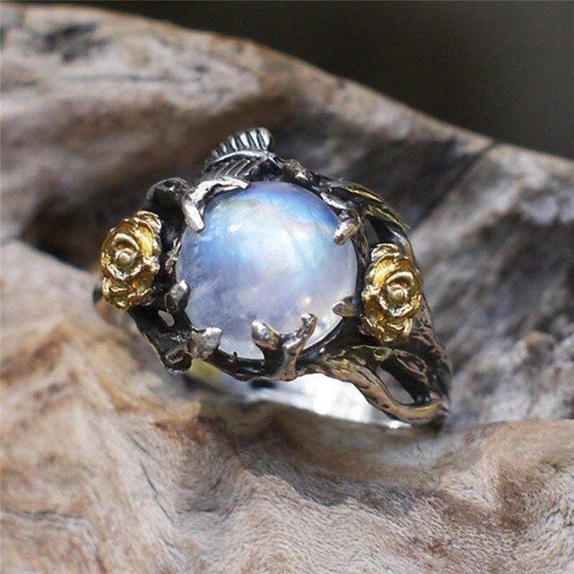 ROMAD Vintage Moonstone ring for Women Black Costume Jewelry Gold Flower Finger