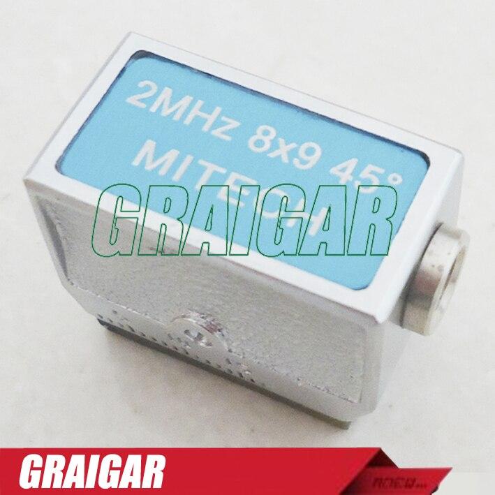 MITECH 45 Degree 2MHz 8x9MM Angle Beam Probe Transducer for MFD350B,MFD500B,MFD620C,MFD650C and MFD800C Ultrasonic Flaw Detector  цены
