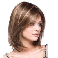 Yhair Women Wig Heat Resistant Synthetic Hair Wig Natural Inclined Bang Short Straight Hair Hot Sale
