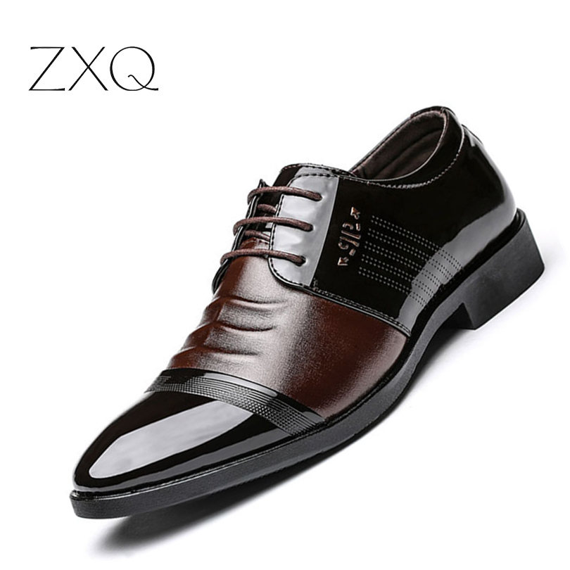 Men Business Dress Shoes Black Brown Patent Leather Wedding Men Formal PU Leather Shoes Wholesale Free Drop Shipping