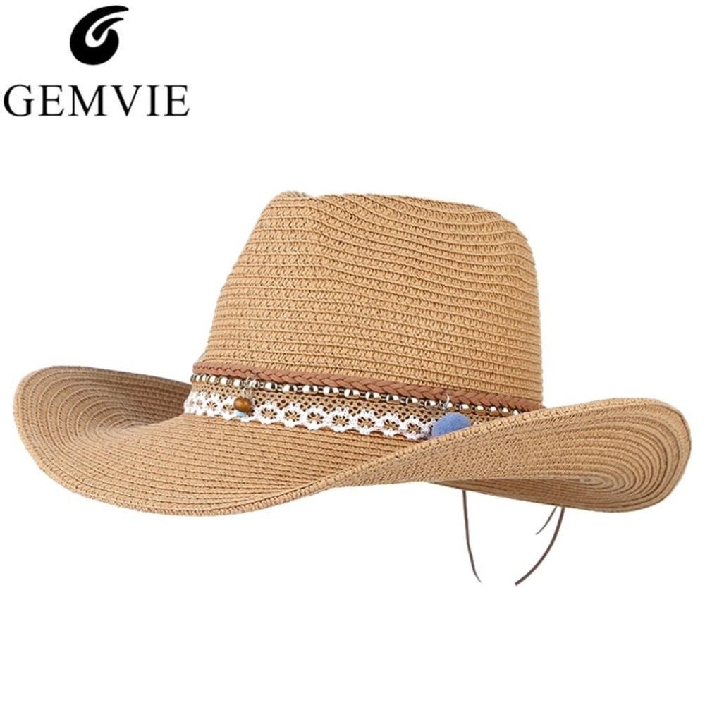743ff5bce8 Vintage Boho verano sombreros para las mujeres sombrero de paja de ala  ancha Western Cowboy Cowgirl Jazz hombres playa visera Sun Cap ajustable ...