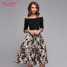 S.FLAVOR Spring Summer Floral Printed Patchwork Dress Women Off Shoulder Sexy Party vestidos Female Slash Neck Casual Dresses(China)