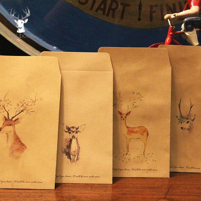 10PCS/set Retro Painted Flower Deer Kraft Paper Envelopes Simple Retro Decorative Small Paper Envelope 16x11cm