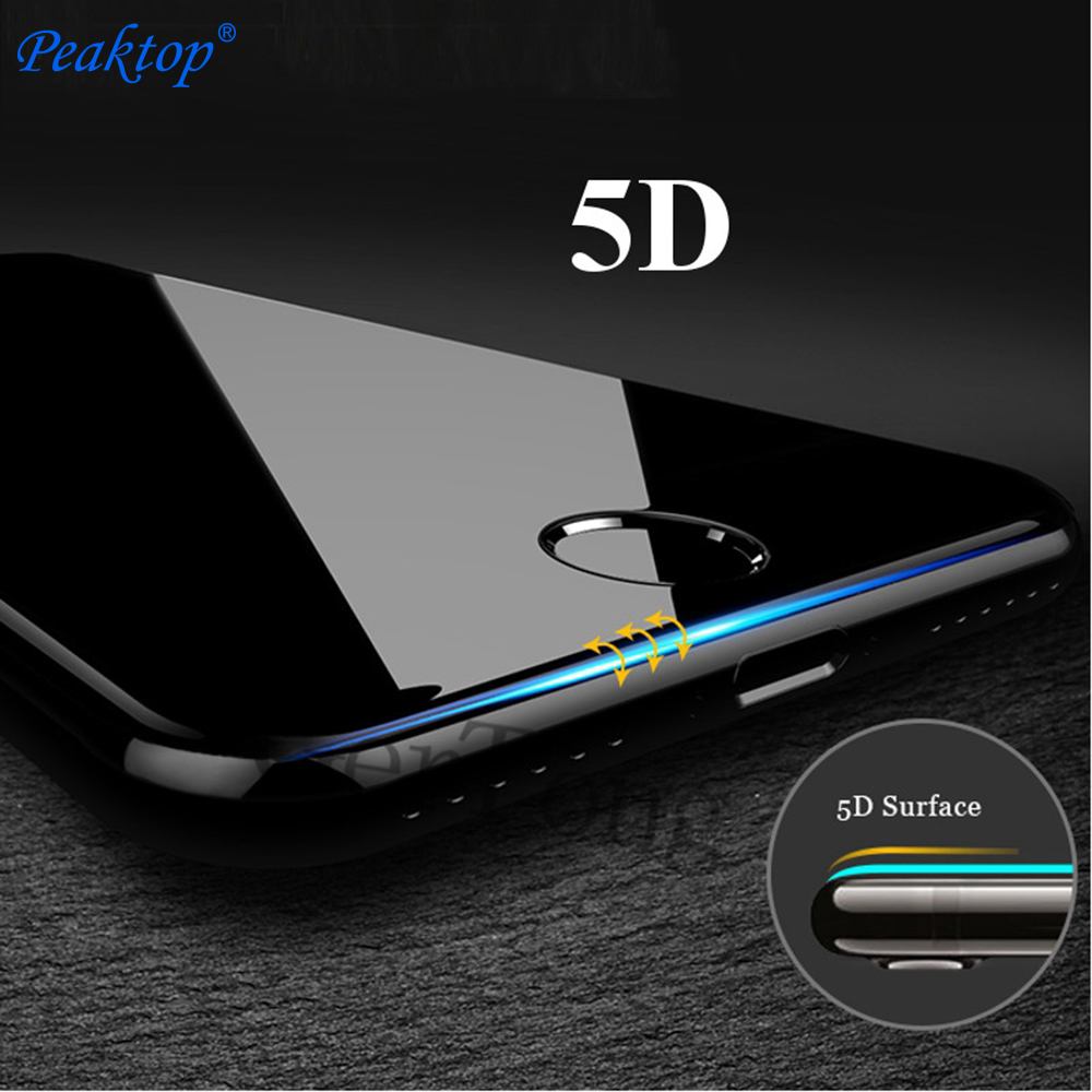 5D Premium Screen Protector Tempered Glass For iPhone 7 8 X 6 S 6S Plus Full Cover Protection Film Glass For iPhone 7 Curve Edge