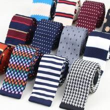 Мужские вязаные полосатые галстуки для отдыха, модные обтягивающие узкие галстуки для мужчин, обтягивающие тканые дизайнерские Галстуки No.1-20