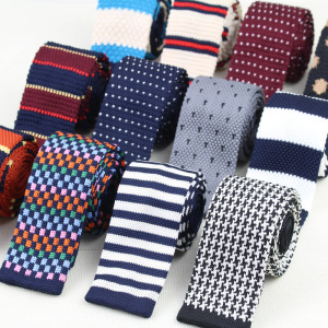 Men's Knitted Knit Leisure Striped Tie Fashion Skinny Narrow Slim Neck Ties For Men Skinny Woven Designer Cravat
