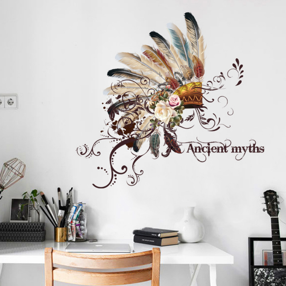 Indian wall stickers creative fashion chief tribal hat for Stickers muraux pour couloir