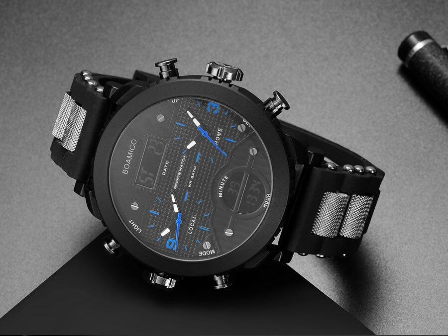 HTB1yjfCa1OSBuNjy0Fdq6zDnVXa1 men watches BOAMIGO brand 3 time zone military sports watches male LED digital quartz wristwatches gift box relogio masculino