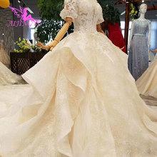 Vestidos de boda de lujo de los Países Bajos de AIJINGYU Sexy debajo de 500 botones de vestido de novia de manga larga de encaje