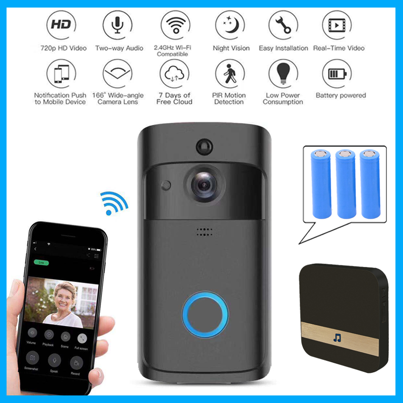 Smart Wireless WiFi Security Doorbell Visual Recording Remote Home Monitoring FIR IR Night Vision Smart Video Door Bell Phone smart wireless wifi security video intercom doorbell visual recording consumption remote home doorbell video door bell ring cam