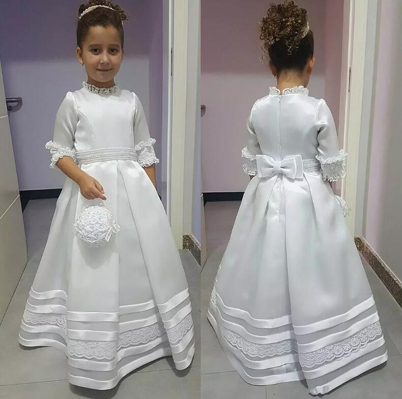 Cute White Flower Girl Dresses for Wedding A-Line Half Sleeve Lace Communion Gown Children Party Celebrity Dresses lace design white flower rose invitation card kit for wedding paper blank printing invitations cards set party festivals invite