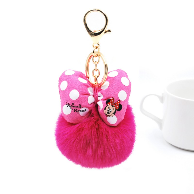 Fluffy Rabbit Fur Ball Mickey <font><b>Key</b></font> Chain For Women <font><b>Pompom</b></font> Bunny Fur Bowknot <font><b>Key</b></font> <font><b>Ring</b></font> Keychain on Bag Car Jewelry Wedding Gift image