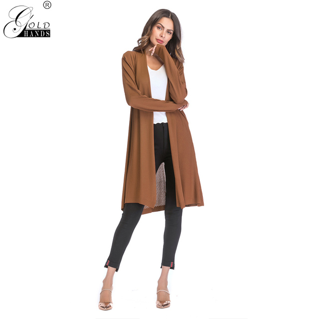 Gold Hands Autumn Winter Fashion Coat for Women Black Hollow Out Skinny Long Sleeves Solid Coat Casual Female Open Stitch Coat