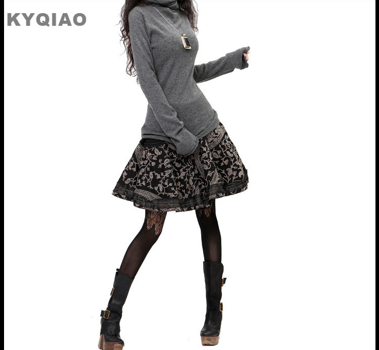 KYQIAO 2019 Mori Girls Spring Autumn Summer Vintage Embroidery Floral Bust Skirt S M L XL Brand Ethnic Print Skirt Midiskirt