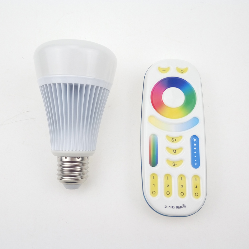 MiLight E27 LED Bulb 8W 2.4G Wireless RF Remote Control (RGB + CCT ) RGBWW + Color Temperature Adjustable Dimmable Light Lamp CE enwye brightness 10w rgb e27 led bulb light stage lamp 12colors with remote control led lights for home ac85 265v rgbw rgbww