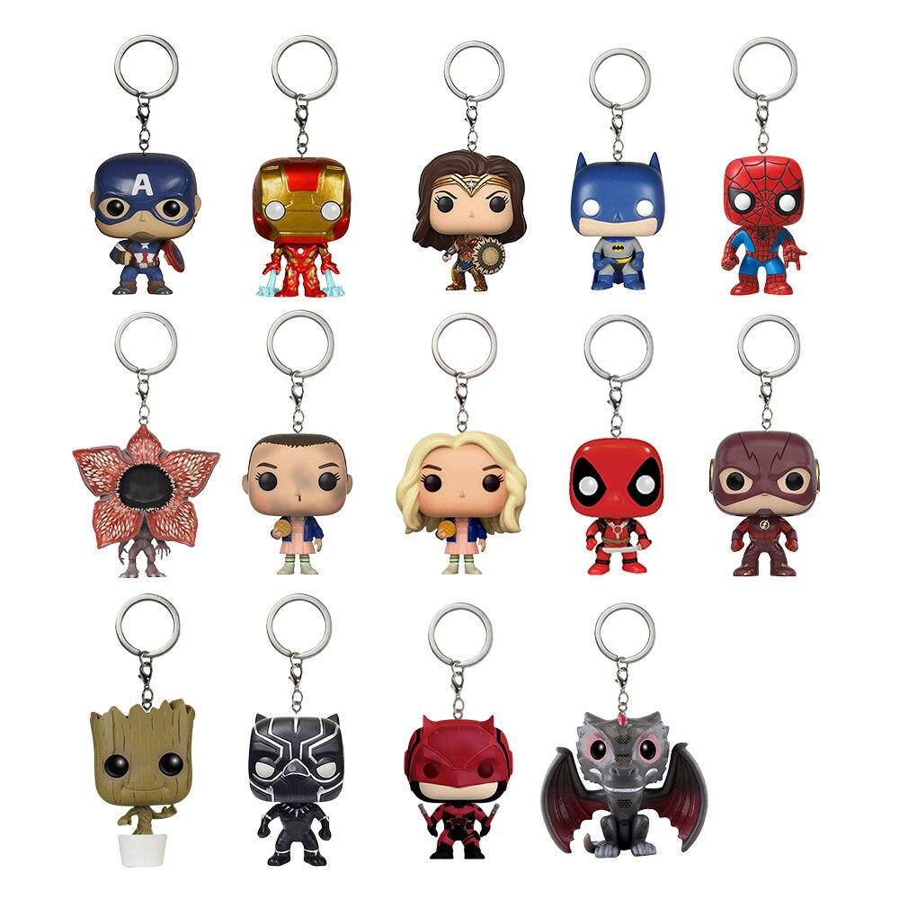 Funko Pop Toys Keychain Marvel Captain America Iron Man Groot Key Ring Kids Wonder Women Key Chain Bag Pendant Jewelry SP1470