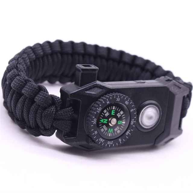 Paracord Survival Bracelets for Men Women Outdoor Bangles Jewelry Wrap Rope Knife SOS 5 in 1 Multifunction Braided Bracelet 2018