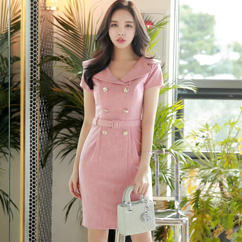 7055db7096e3 ... Dabuwawa Summer V Neck Double Breasted Bodycon Dress Pink Fashion  Elegant Korean Party Mdi Dresses for ...