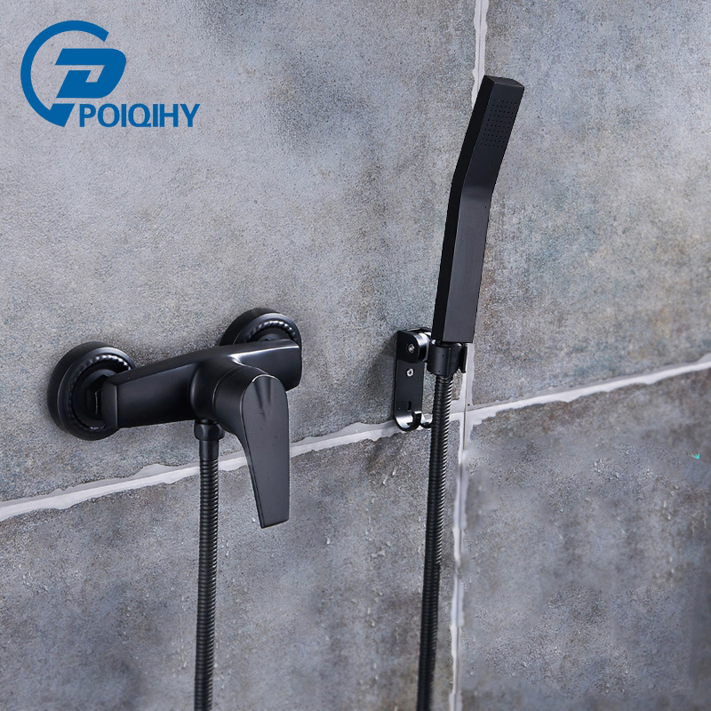 Bathroom Shower Mixer Tap Shower Black Painting Single Handle Wall Mounted Mixer Tap With Handshower oil painting fabric bathroom decor shower curtain