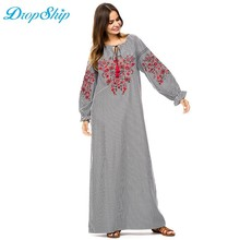 76b0c6c6616d Dropship 2018 Mulheres Islâmicas Maxi Moda Casual Bordado Vestido Longo da  Manta Do Vintage Vestidos Caftan Dubai Abaya Muçulman.