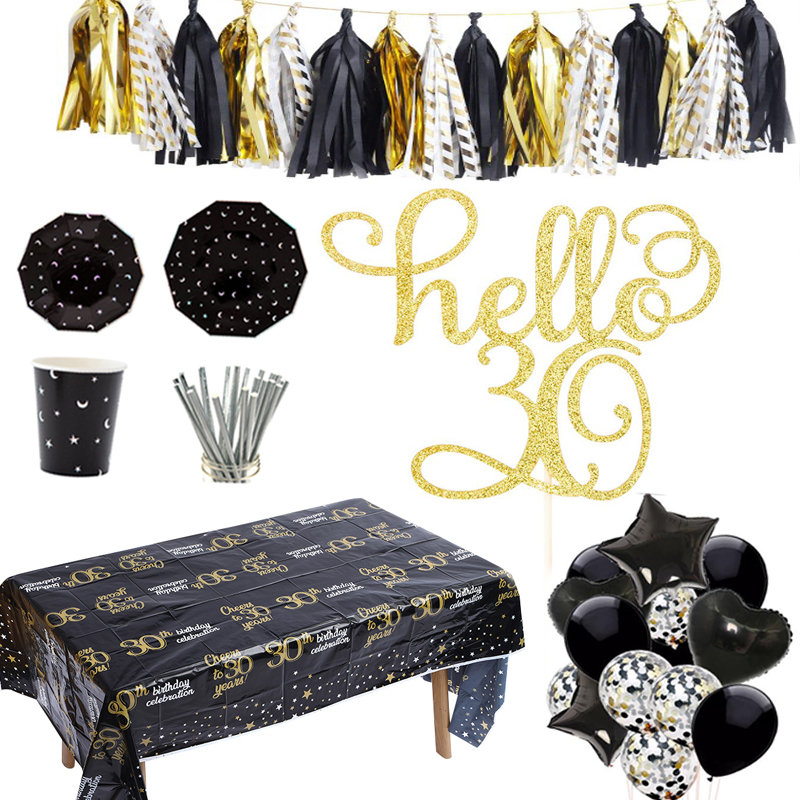 Omilut 30th Birthday Party Supplies Black Gold Decoration Hello 30 Cake Topper Photo Booth Props