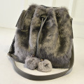 Rabbit Fur Handbags Women Messenger bags Casual Shoulder Bags bolsa feminina Clutch famous designer purses and handbags 2015