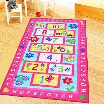Tapete rosa para niños y niñas, Alfombra para sala de estar, dormitorio,...
