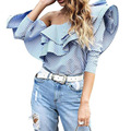 Zewo Sexy One Shoulder Blouse Shirt Women Tops Autumn Winter Casual Blusas Blue Striped Ruffles Long Sleeve Cotton Blouses 2016