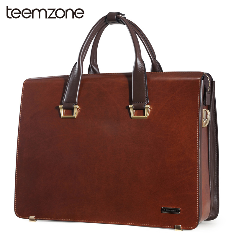 teemzone Upgrade 14&15 Laptop Bag Mens Genuine Leather Vintage Formal Business Lawyer Briefcase Messenger Shoulder Bag 2 Size teemzone top men genuine leather vintage formal business lawyer briefcase messenger shoulder attache portfolio tote brown t0581
