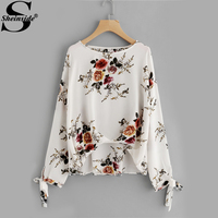 Sheinside Floral Printed Bow Tie Cuff Box Pleated Dip Hem Blouse Boat Neck Long Sleeve Casual Top 2017 Fall Elegant Blouse