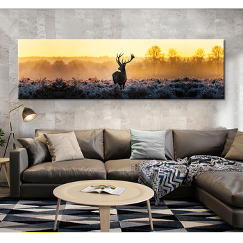 Deer Elk Landscape Forest Wall Art Canvas Painting Cuadros Posters Nordic Poster Picture Wall Pictures For Living Room framed