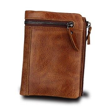 Nuevo diseño de los hombres de cuero genuino de carteras de la moneda de la cremallera bolsillo de la Real Carpeta de cuero moneda, moneda monedero de alta calidad de hombre bolso cartera