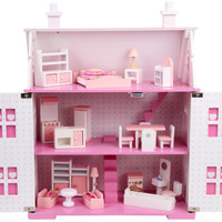 miniature Wooden dollhouse with Furniture sets for dolls kawaii pink & white DIY doll house role play toys gifts for children