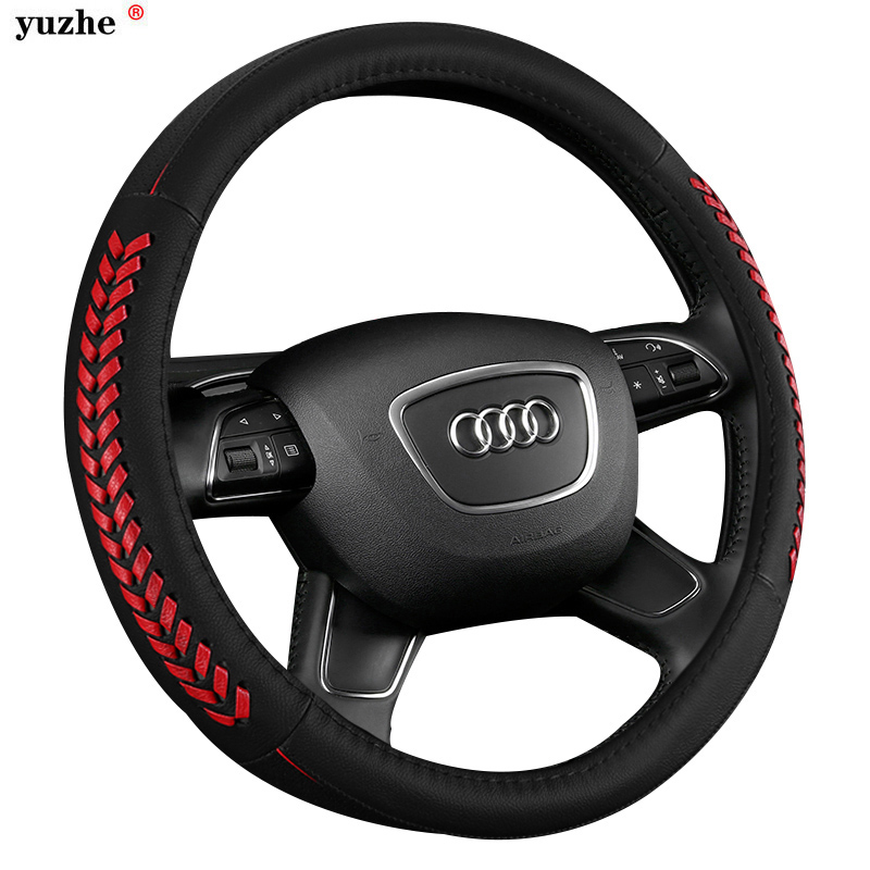 Yuzhe Universal Genuine Leather Car Steering Wheel Cover For Volkswagen vw passat polo golf BMW Audi Toyota kia car accessories чехол из натуральной кожи для lg optimus g синий кроко abilita