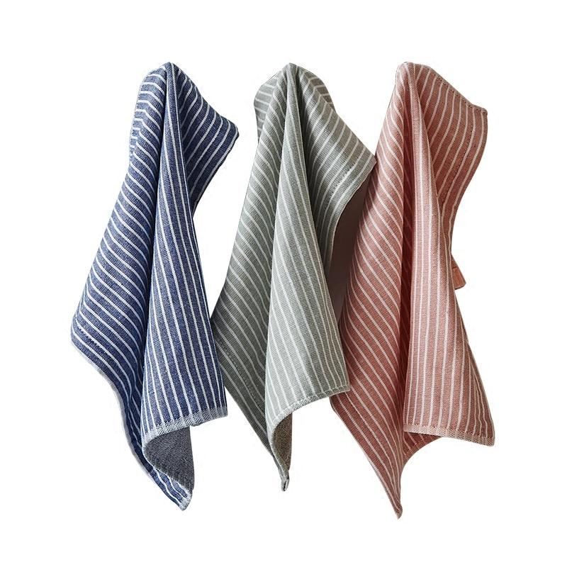 High Quality 100% Cotton Handkerchiefs Square Pocket Hanky Striped Handkerchief Portable Towel 35x35cmCM AD0436