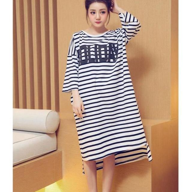2d13432d69 Summer Mid-calf Three Quarter Sleeve 100% Cotton Women Nightgowns Striped  Nightdress Women Nighty Sexy Night Wear Soft Fabric