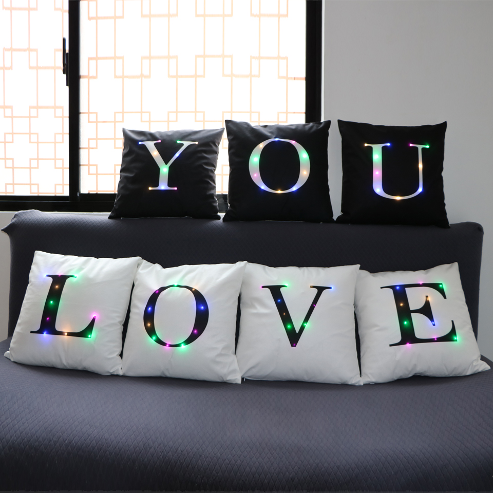 Letter Led Vintage Cushion Cover Polyester Fashion Home Use Pillow Living room Bed Sofa Decorative Pillows Black White