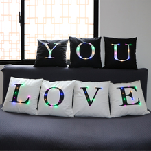 Letter Led Vintage Cushion Cover Polyester Fashion Home Use Pillow Cover Living room Bed Sofa Decorative Pillows Black White home decorative embroidered cushion cover black white canvas cotton square embroidery pillow cover 45x45cm for sofa living room