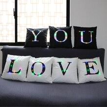 Letra Led funda de cojín vintage de poliéster a la moda para uso en el hogar funda de almohada para sala de estar cojines de sofá decorativos negro blanco