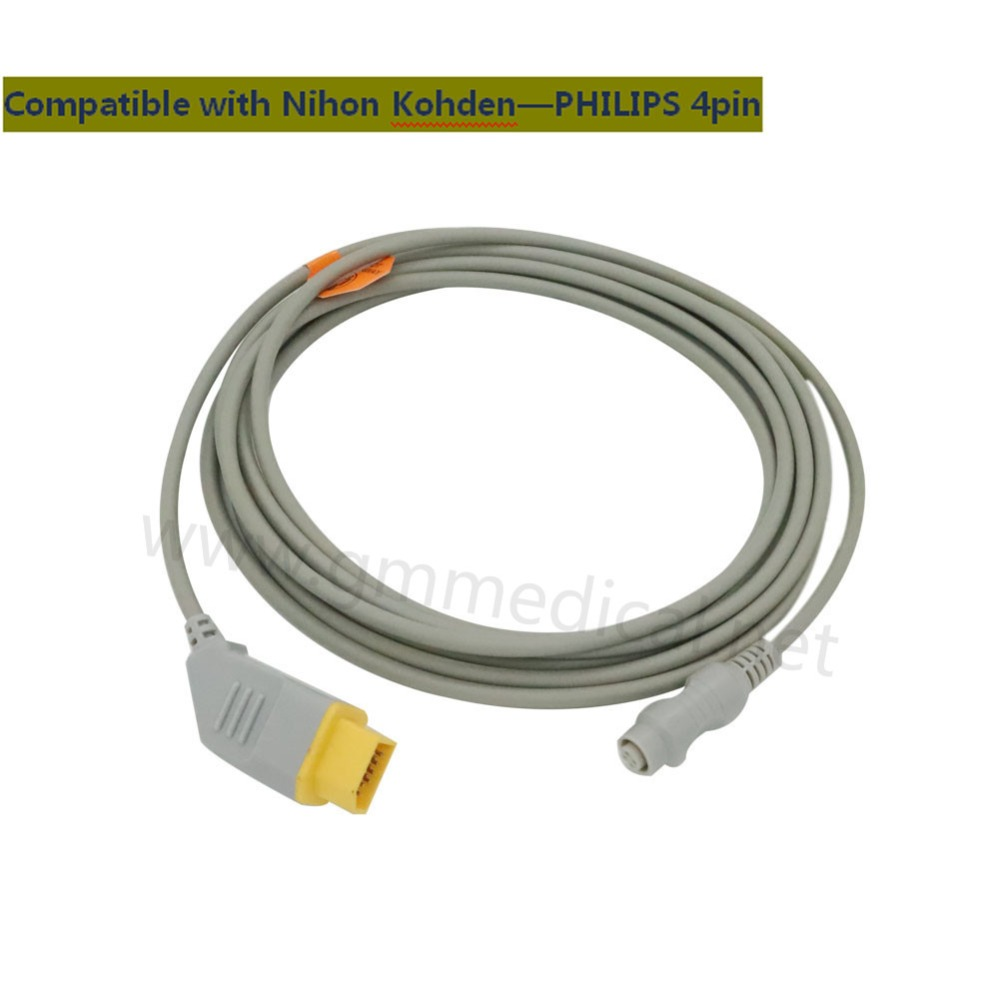 Nihon Kohden Compatible IBP/Invasive Blood Pressure Cable with PHILIPS Transducer Adapter,NK 14PIN->Round 4PIN free shipping compatible for drager 8060 to abbott transducer ibp adapter cable red 10pin ibp cable tpu patient monitor cable