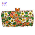 LaiSC butterfly Pattern Newest white flower Crystal clutch purses Ladies Prom Bag Party Clutch Evening bag sc451-B
