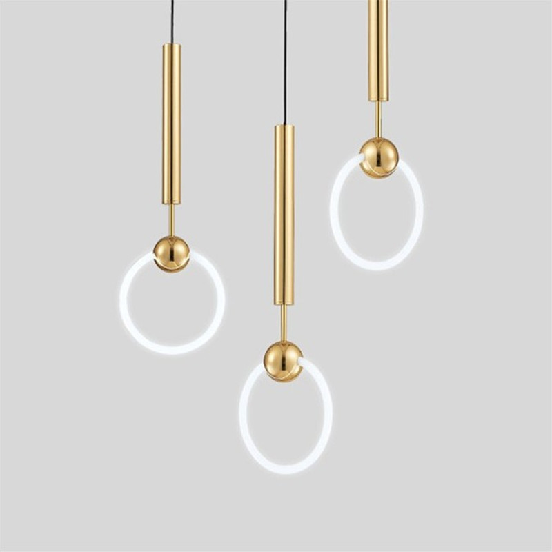 Modern Simple Lee Broom Ring Led Pendant Lights 2700K Warm White Gold Metal Suspension Pendant Lamp Indoor Lighting Fixture