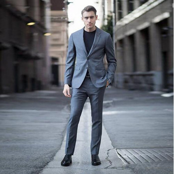 Grey Men Suits Smart Casual Slim Fit Best Business Suit Wedding Tuxedos Groom Wear Groomsmen Suit Men Formal Wear (jacket+pant)