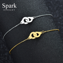 Креативные золотые наручные браслеты для женщин, модные подвески для пары из нержавеющей стали, браслеты с замком, браслеты дружбы