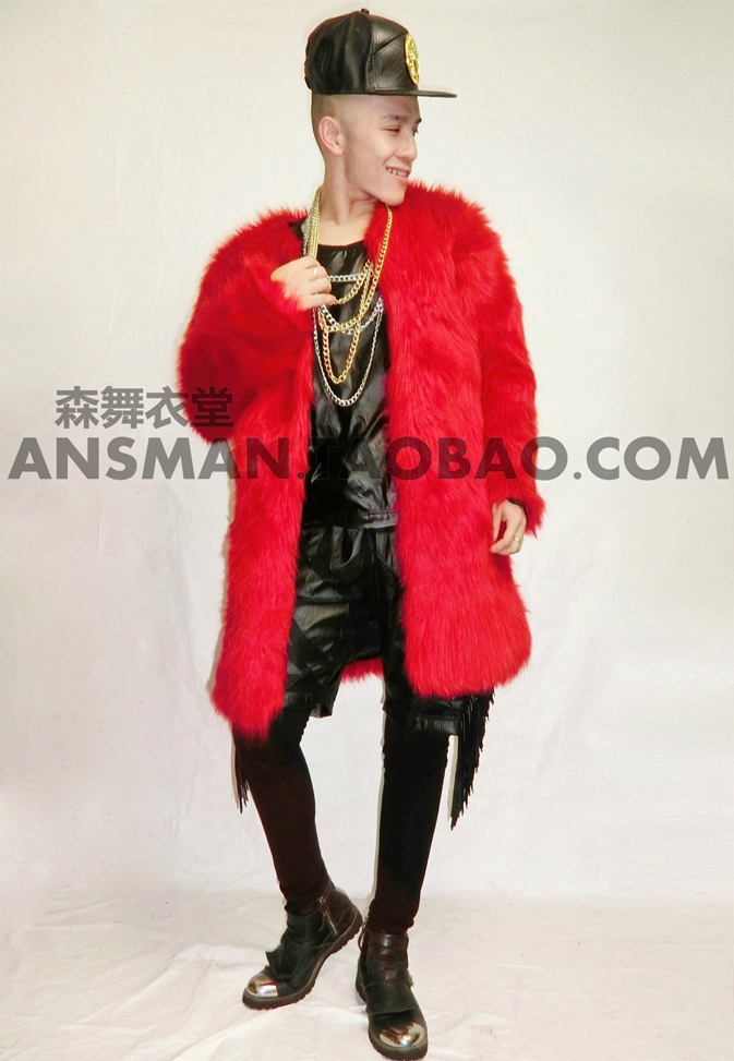Stage Performance Costumes Male Personality medium-long Red performance Jacket outerwear Nightclub dj singer dancer stage show dance wear